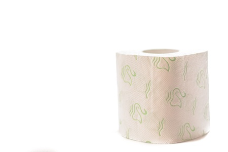 Roll of toilet paper over a white background