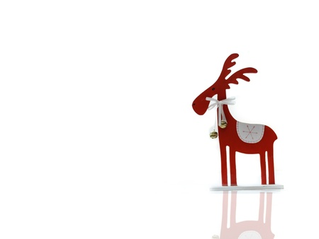 Red chirstmas elk on white background