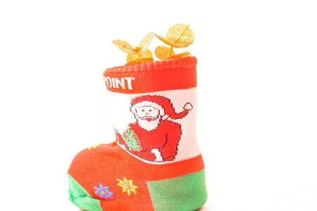 Old Snata Clause shoes on white background