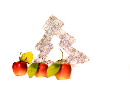 Christmas tree with apples on white background  Stock Photo