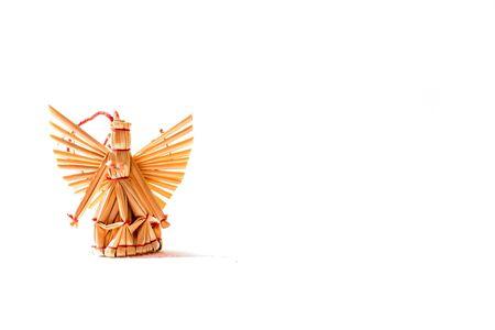 Beautiful straw angel on white bacground  Stock Photo