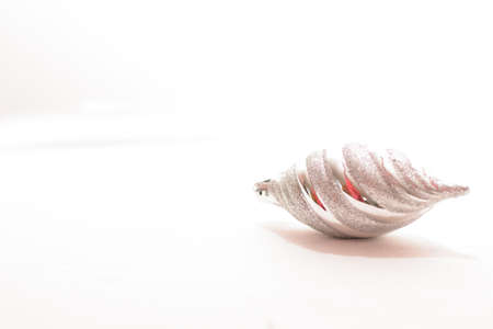 Beautiful silver christmas ball on white background  photo