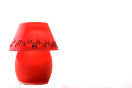 Beautiful red christmas lamp on white background  photo