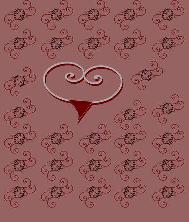 Heart sharp pattern on purple background
