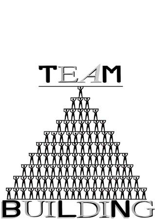 Teambuilding, menselijke piramide, concept illustratie op witte achtergrond