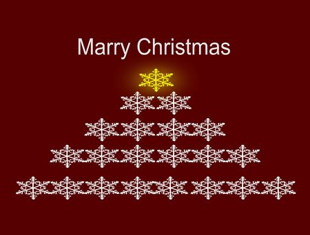 Christmas tree made from snowflakes and marry christmas text like card  Illustration