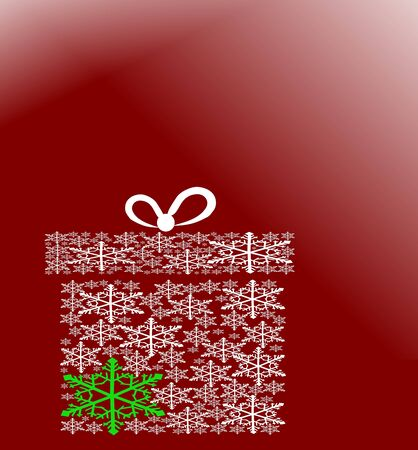 Snowflake christmas greeting card on red background   Illustration