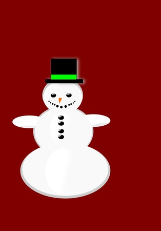 Vector snowman Christmas greeting card on red background
