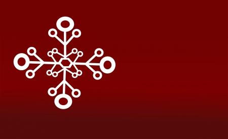 Single geometrical snow flake white on red background