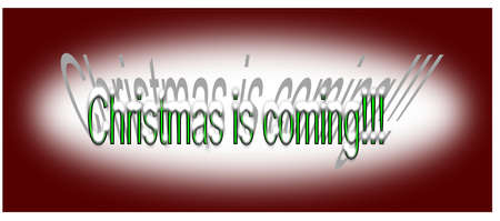 Christmas is coming text with shadow on background