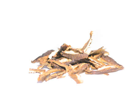 Detail of Dried mushrooms on the white background  Home made  Stock Photo