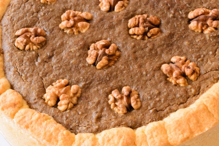 Detail of delicious nut cake  Close up  on white background