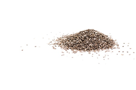 chia seed: Heap of chia seeds isolated on white