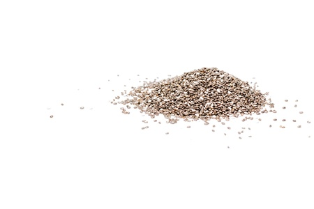 Heap of chia seeds isolated on white