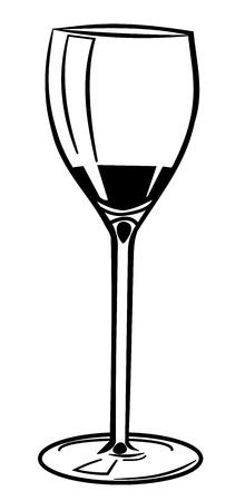Illustration of a wine glass. Black glass on white background. Illustration