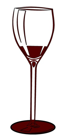 caterer: Illustration of a wine glass. Red glass on white background.