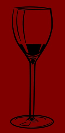 caterer: Illustration of a wine glass. Black glass on red background.