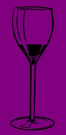 caterer: Illustration of a wine glass. Black glass on purple background.
