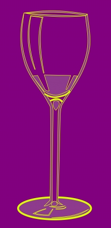 unlabeled: Illustration of a wine glass. Yellow glass on purple background.