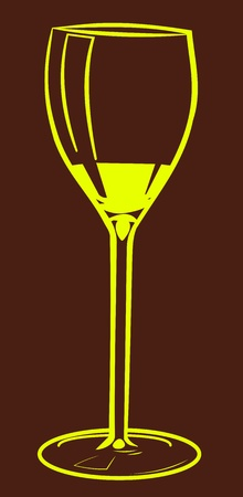 caterer: Illustration of a wine glass. Yellow glass on brown background.