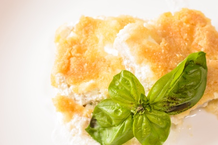 Fish fillete with basil decorated on white plate  photo