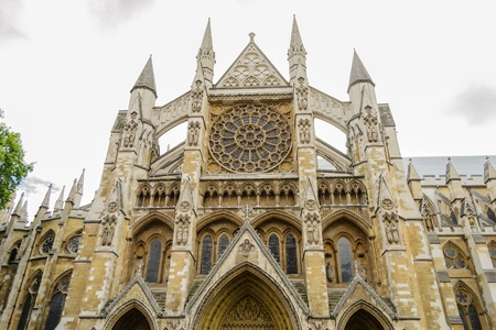 Wesminster abbey in London, England under dark clouds  Stock Photo