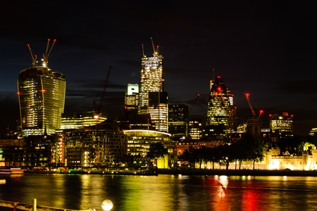 Shot of London during night, England with river thames  Nice colors and sky
