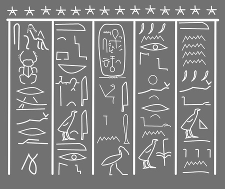 dead duck: Vector of egypt hieroglyph. Grey and white.