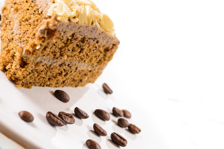 Detail of delicious coffe cake  Close up on white background  Standard-Bild