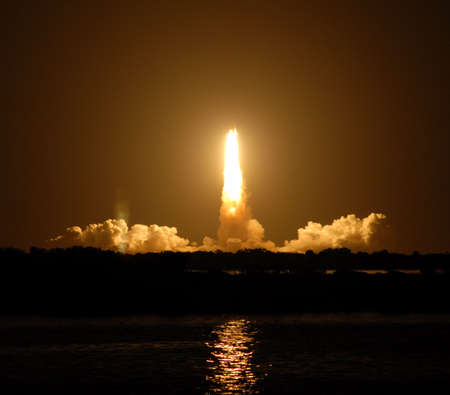 launch: night space shuttle launch