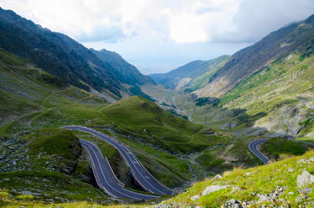 One of the most beautiful mountain roads in the world located in the Carpathian Mountains of Romania photo
