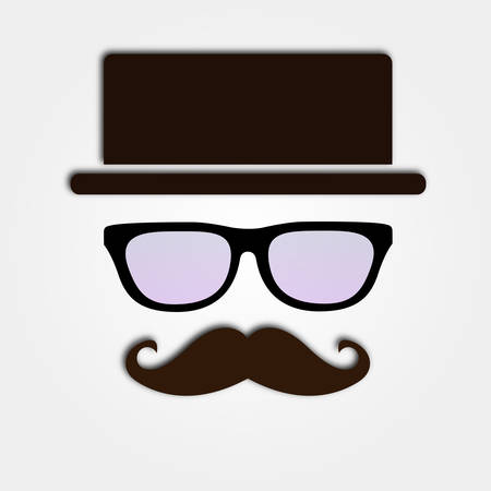 Eye Glasses with mustache and hat Vector