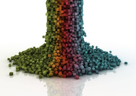 starting: colourful cascade of falling pixels Stock Photo
