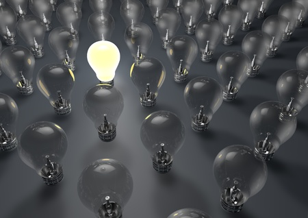 distinctive: 3d render of one lightbulb switched on