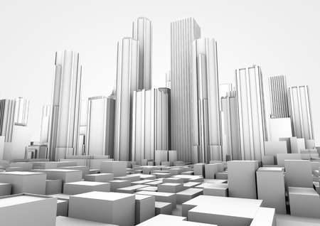 3d render of a white big city photo