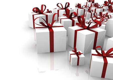 render of a group of isolated gifts Stock Photo