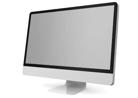 コンピューターのモニターの隔離されたレンダリング 写真素材