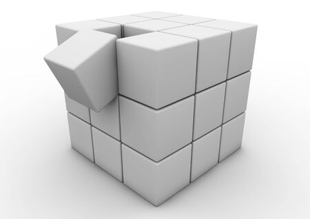falling cubes: Render of a matrix of cubes, one falling