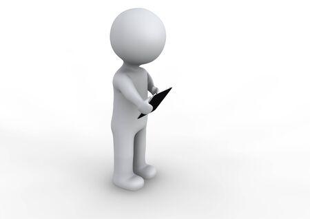 hombre: Hombre utilizando un tablet Stock Photo