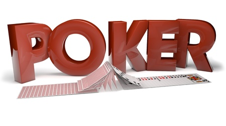 games hand: render of the text poker and fliping cards Stock Photo