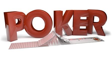 jeu de carte: rendre le texte et les cartes de poker fliping Banque d'images