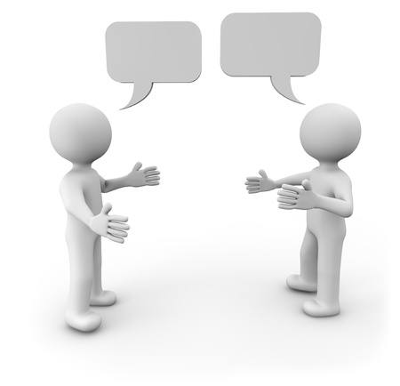 two people talking: render of two man talking Stock Photo
