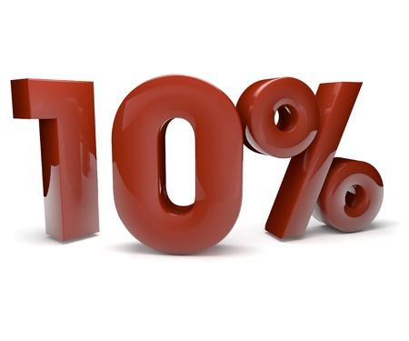 3d render of ten percent Stock Photo