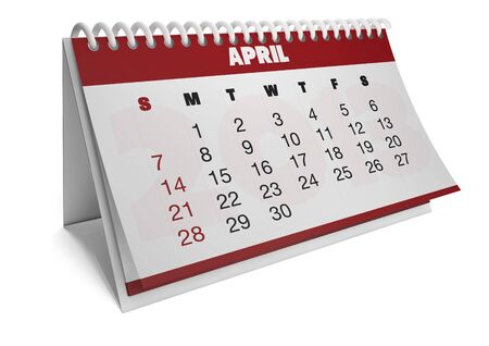 render of a 2013 calendar with real dates of april Stock Photo - 15505185