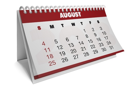 render of a 2013 calendar with real dates of august Stock Photo