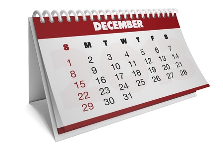 render of a 2013 calendar with real dates of december