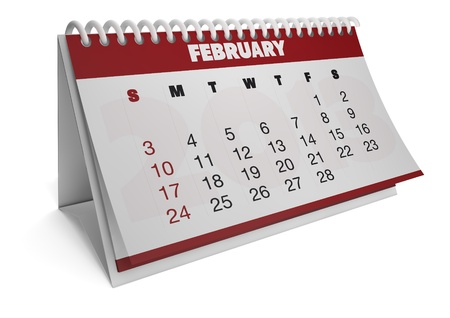 render of a 2013 calendar with real dates of february photo