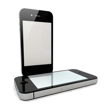 3d render of two smartphones photo