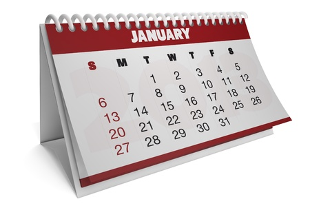 Render of a 2013 calendar with real dates of january Stock Photo