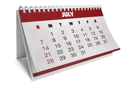 render of a 2013 calendar with real dates of july Stock Photo - 15505192